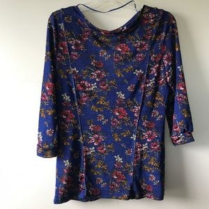 Free People Dock Street Blue Floral Print Modified